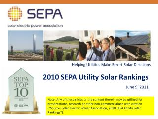 2010 SEPA Utility Solar Rankings June 9, 2011