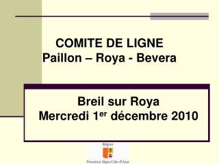 COMITE DE LIGNE Paillon – Roya - Bevera