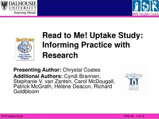 Read to Me! Uptake Study: Informing Practice with Research