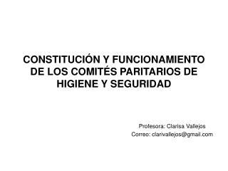 CONSTITUCIÓN Y FUNCIONAMIENTO DE LOS COMITÉS PARITARIOS DE HIGIENE Y SEGURIDAD