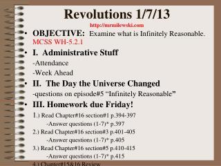 Revolutions 1/7/13 mrmilewski