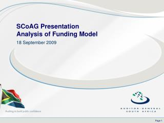 SCoAG Presentation  Analysis of Funding Model