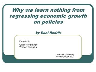 Why we learn nothing from regressing economic growth on policies by Dani Rodrik