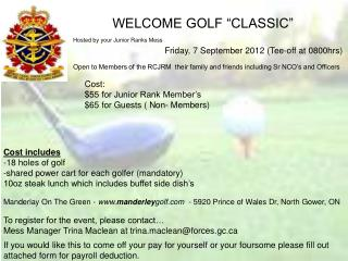 "WELCOME GOLF ""CLASSIC"""