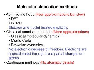 Molecular simulation methods