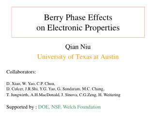 Berry Phase Effects  on Electronic Properties