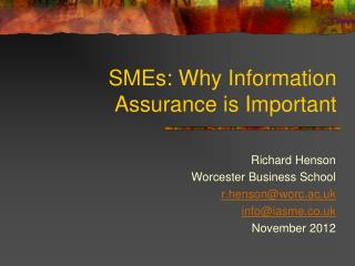 SMEs: Why Information Assurance is Important