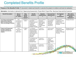 Completed Benefits Profile