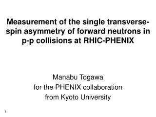Manabu Togawa  for the PHENIX collaboration from Kyoto University