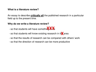 Critically reviewing the literature and writing a literature review