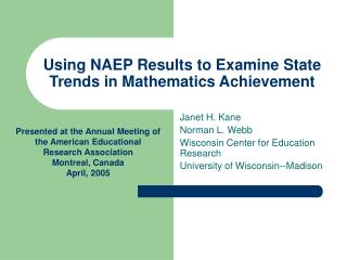 Using NAEP Results to Examine State Trends in Mathematics Achievement