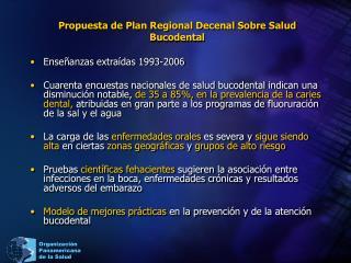 Propuesta de Plan Regional Decenal Sobre Salud Bucodental