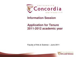 Information Session  Application for Tenure  2011-2012 academic year