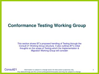 Conformance Testing Working Group