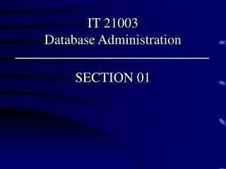 IT 21003  Database Administration