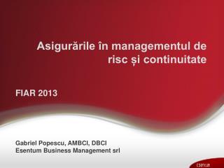 Asigurările în managementul de risc și continuitate