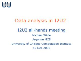 Data analysis in I2U2