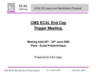 CMS ECAL End Cap Trigger Meeting.  Meeting held 29 th  - 30 th  June 2005