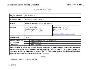 Telecommunications Industry Association	TR41.3.9-08-05-004-L
