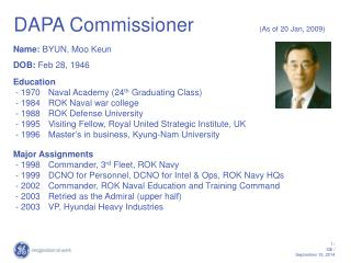 DAPA Commissioner             (As of 20 Jan, 2009)