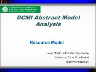 DCMI Abstract Model Analysis