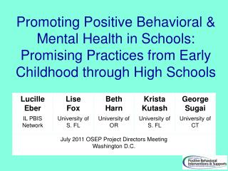 Promoting Positive Behavioral  Mental Health in Schools: Promising Practices from Early Childhood through High Schools