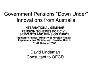 """Government Pensions """"Down Under"""" Innovations from Australia"""