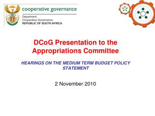 DCoG Presentation to the Appropriations Committee