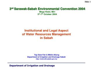Institutional and Legal Aspect  of Water Resources Management  in Sabah