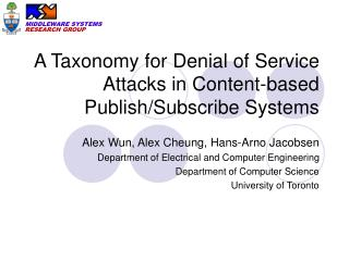 A Taxonomy for Denial of Service Attacks in Content-based Publish/Subscribe Systems