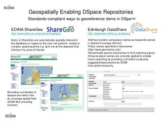 Geospatially Enabling DSpace Repositories Standards-compliant ways to georeference items in DSpace