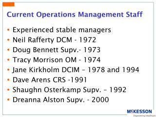 Current Operations Management Staff