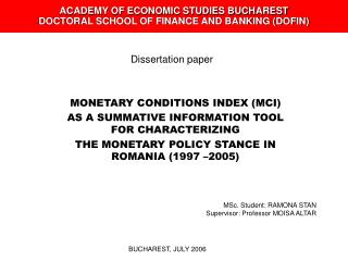 ACADEMY OF ECONOMIC STUDIES BUCHAREST DOCTORAL SCHOOL OF FINANCE AND BANKING (DOFIN)