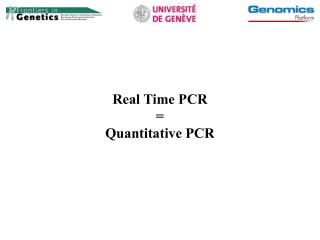 Real Time PCR = Quantitative PCR