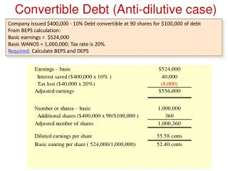 Convertible Debt (Anti-dilutive case) Example
