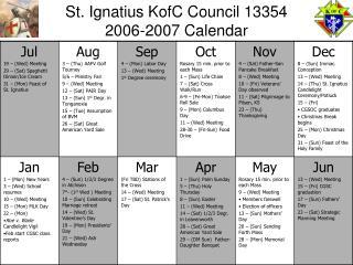 St. Ignatius KofC Council 13354 2006-2007 Calendar