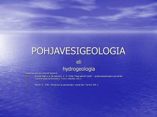POHJAVESIGEOLOGIA