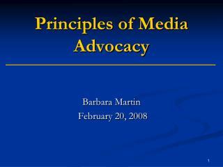 Principles of Media Advocacy