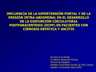 Dra Ana Cruz Bonilla Dr Alberto Monescillo Francia Servicio de Digestivo