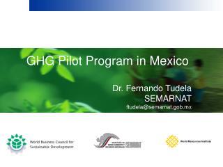 GHG Pilot Program in Mexico Dr. Fernando Tudela SEMARNAT ftudela@semarnat.gob.mx