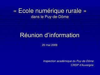 «Ecole numérique rurale» dans le Puy-de-Dôme