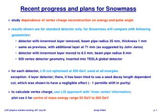 Recent progress and plans for Snowmass