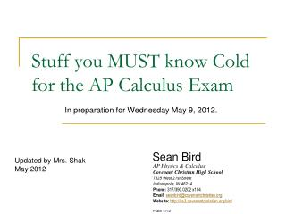 Stuff you MUST know Cold for the AP Calculus Exam