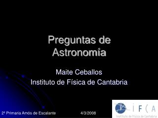 Preguntas de Astronomía
