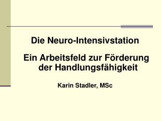 Die Neuro-Intensivstation  Ein Arbeitsfeld zur Förderung der Handlungsfähigkeit Karin Stadler, MSc