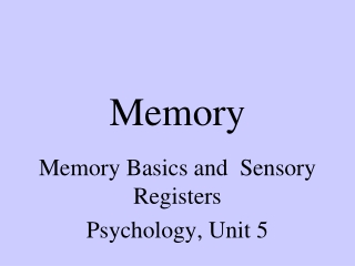 Memory  Information Processing
