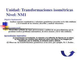 Unidad: Transformaciones isométricas Nivel: NM1