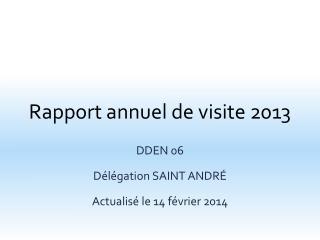 Rapport annuel de visite 2013