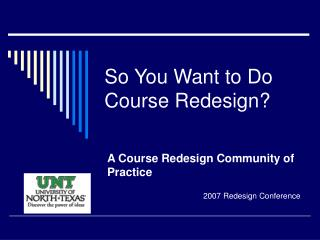 So You Want to Do Course Redesign?