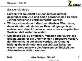 EU global – fatal !?